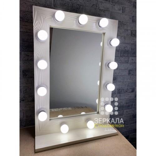Гримерное зеркало с подсветкой и полкой 70х50
