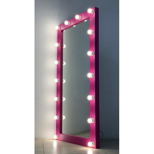 Розовое гримерное зеркало в пол с подсветкой 160х80 см